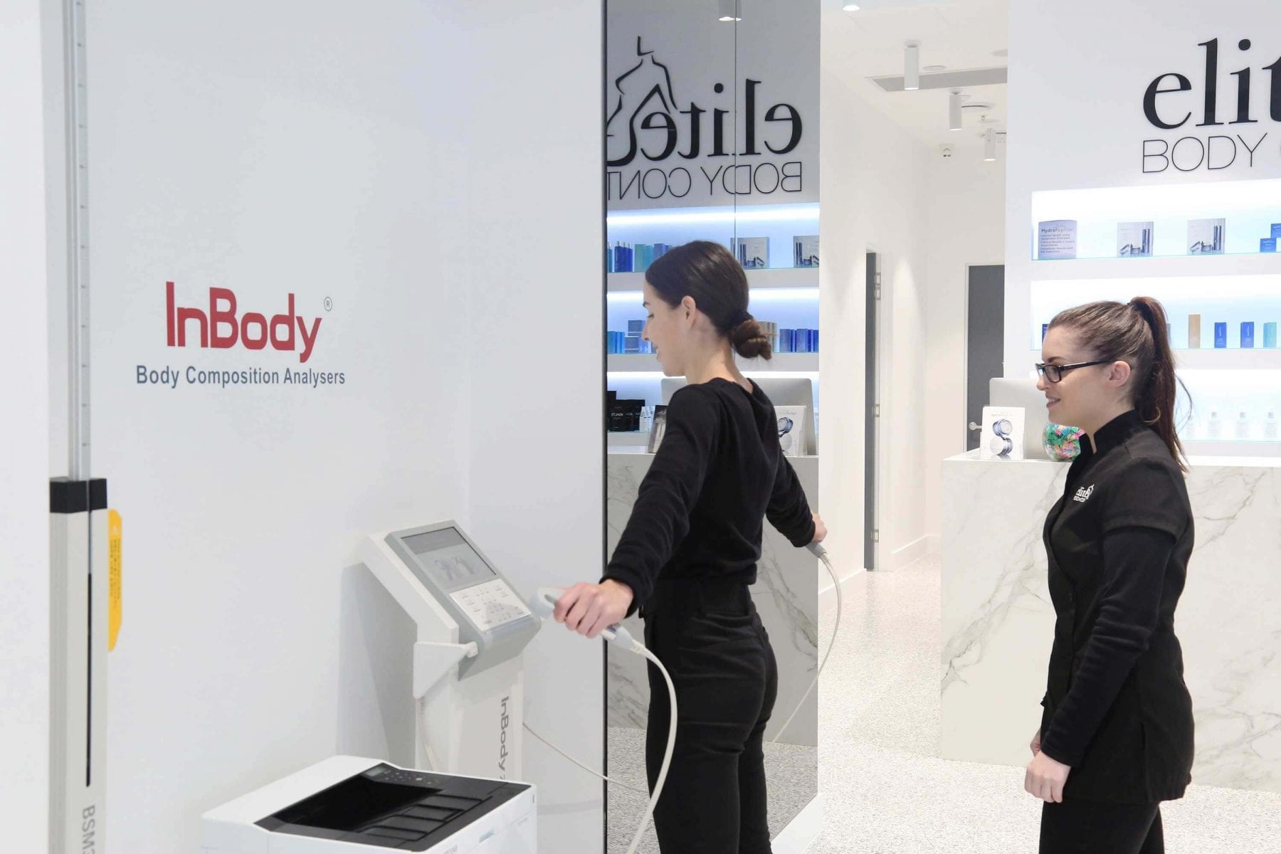 Patient getting a 98% accurate InBody Body Composition Analyser.